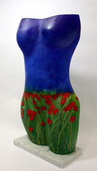 Flamboyant Colourful Exuberant Exotic Gaudy Gorgeous Decorative Vivid Brightly Coloured Spectacular Sculpture by sculptor artist Stephen Beardsell titled: 'female Form, Poppy Field (Glass Torso sculpture)' in Glass