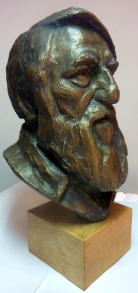 Meditation sculpture / Statues / statuettes / figurines by sculptor artist Thomas Brown titled: 'Marcus (Male Portrait Bust Head Commission statue)' in Bronze resin
