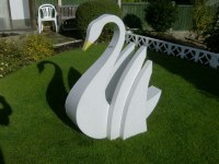 Birds Abstract Contemporary Stylised l Minimalist Sculpture / Statues by sculptor artist Timothy Blackwood titled: 'White Swan (Stylised Swimming garden statue)' in Alluminium