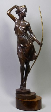 Bronze Gods or Goddess, or Deity sculpture by Tristan MacDougall titled: 'Artemis (Small Goddess Huntress Diana and Bow Bronze statue statuette)'