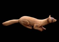 Wild Animals and Wild Life Sculpture by sculptor artist Vega Bermejo Castelnau titled: 'Beech Marten (Carved Oak Wood Wild Animal sculptures statues)' in Carved oak