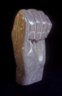 Anatomy, Hands and Feet and other human parts of the body Sculpture by sculptor artist Vega Bermejo Castelnau titled: 'Expectation (Big Clenched marble Hand sculpture carving statue)' in Bu?ol marble