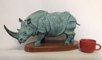 Bronze African Animal and Wildlife sculpture by Vitaliy Semenchenko titled: 'Rhinoceros (Bronze Small Little Rhino statue)'