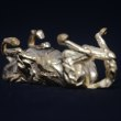 Gold Horses Small, for Indoors and Inside Display sculpturettes Sculptures figurines commissions commemoratives sculpture by sculptor Edward Waites titled: 'Gold Rolling Horse (Miniature Little Gold statuette ornament statue)'