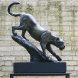Bronze Cats sculpture by sculptor Edward Waites titled: 'Leopard Descent (1/2 life-size)' - Artwork View 1